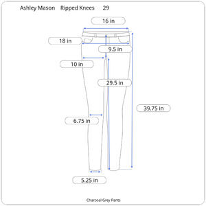 Ashley Mason Pants - Ashley Mason Charcoal Pants with Ripped Knee 29